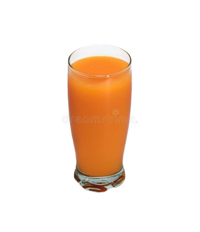 Manger sainement du verre de jus d'orange sur fond blanc photographie stock libre de droits
