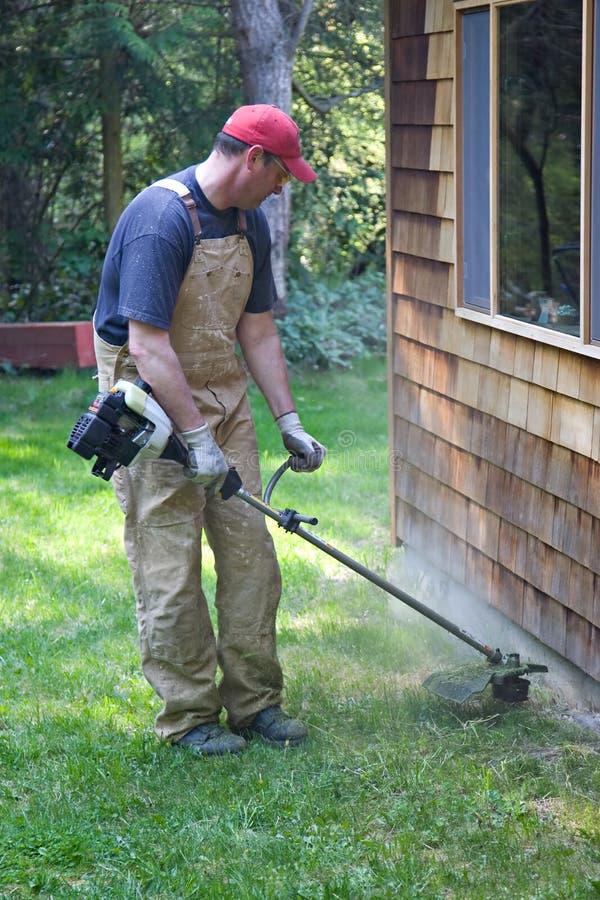 Mangeur d'herbe de garniture de travail de yard photos stock