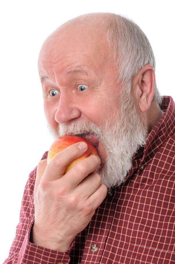 Mangeur d'hommes supérieur de Cheerfull la pomme, d'isolement sur le blanc images libres de droits