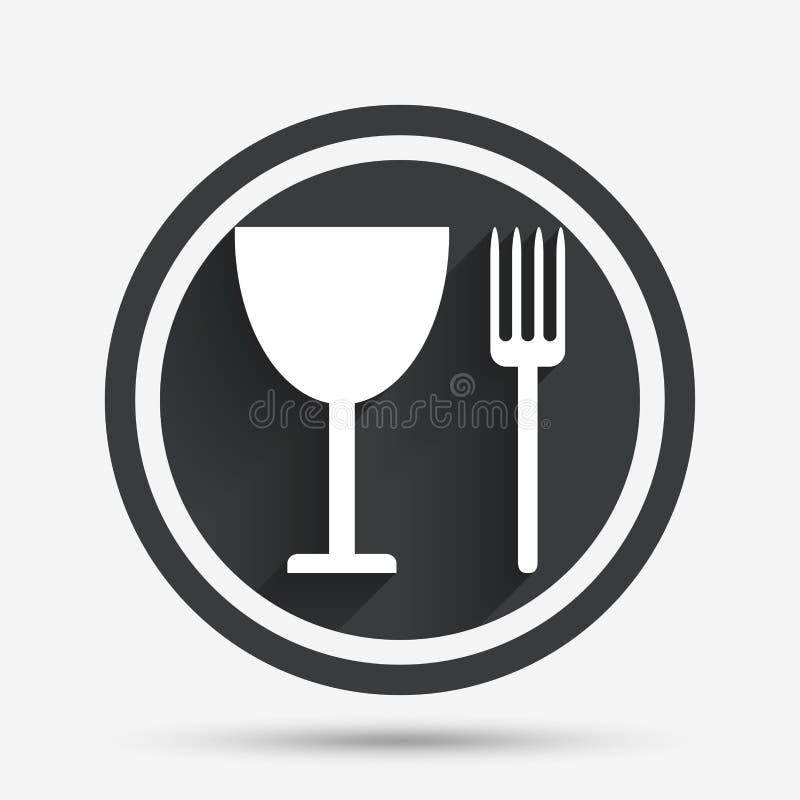Mangez l'icône de signe Symbole de couverts Fourchette et verre à vin illustration de vecteur