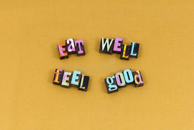 Mangez la bonne typographie heureuse de sensation saine photos libres de droits
