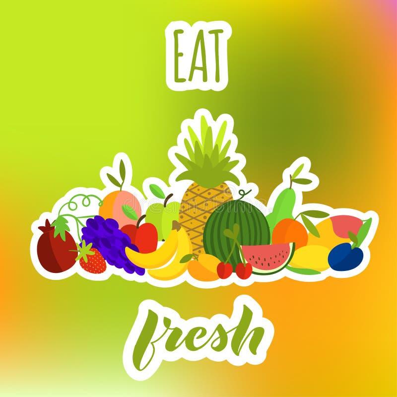 Mangez la composition en fruits frais sur le fond lumineux illustration libre de droits