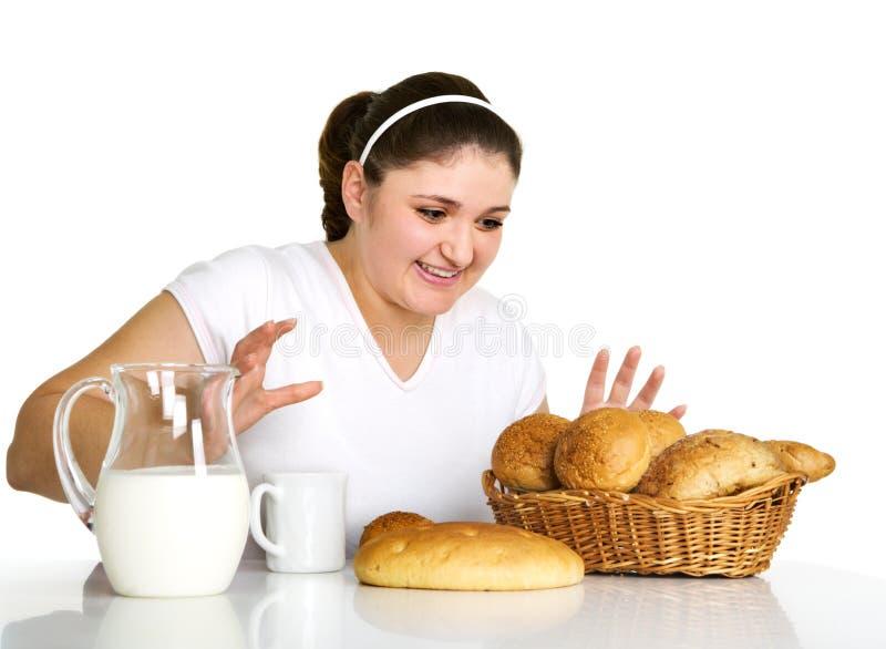 mangez la fille aime assez à images libres de droits