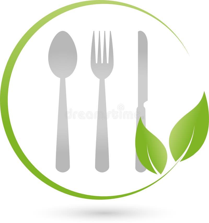 Mangez le logo de couverts et de feuilles de restaurant for Cuisinier vegan