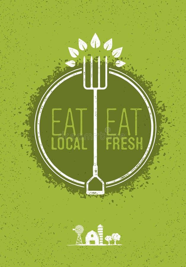 Mangez les gens du pays, mangez le concept sain frais de vecteur de ferme d'Eco de nourriture sur Rusty Background illustration libre de droits