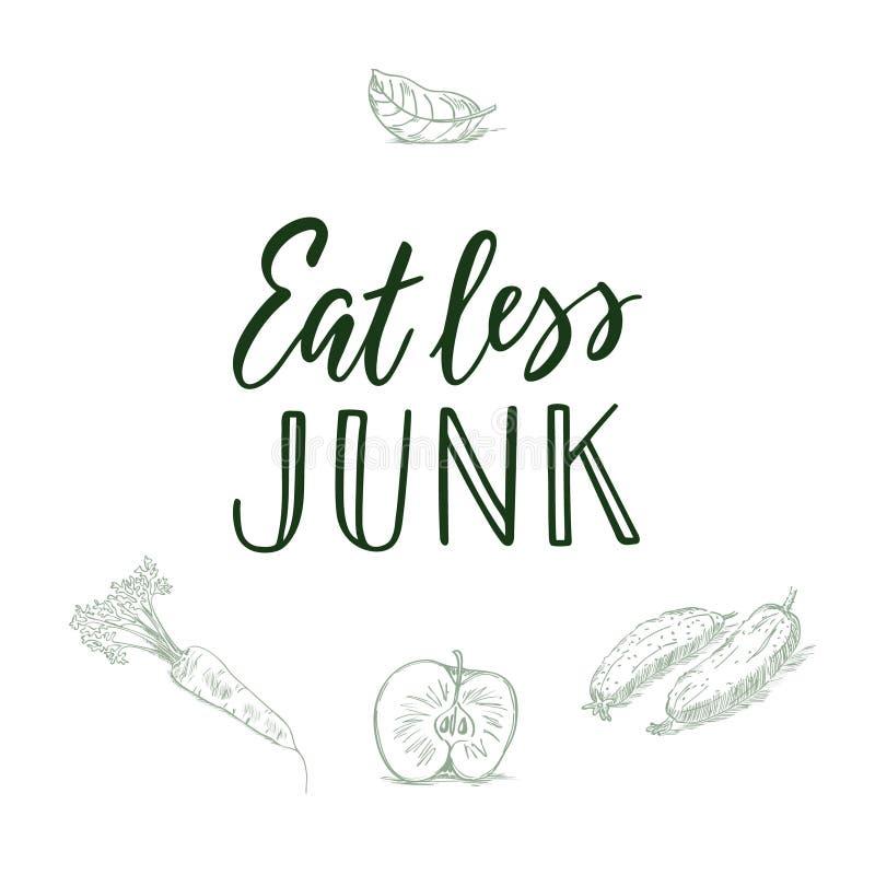 Mangez moins d'ordure ! Citation et veggi/fruit calligraphiques sur le fond images libres de droits