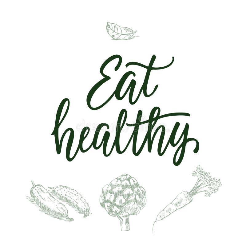 Mangez sain ! Citation et veggi/fruit calligraphiques sur le fond images stock