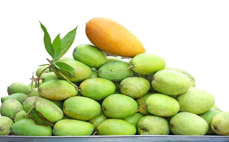 Manghi verdi isolati su fondo bianco immagini stock
