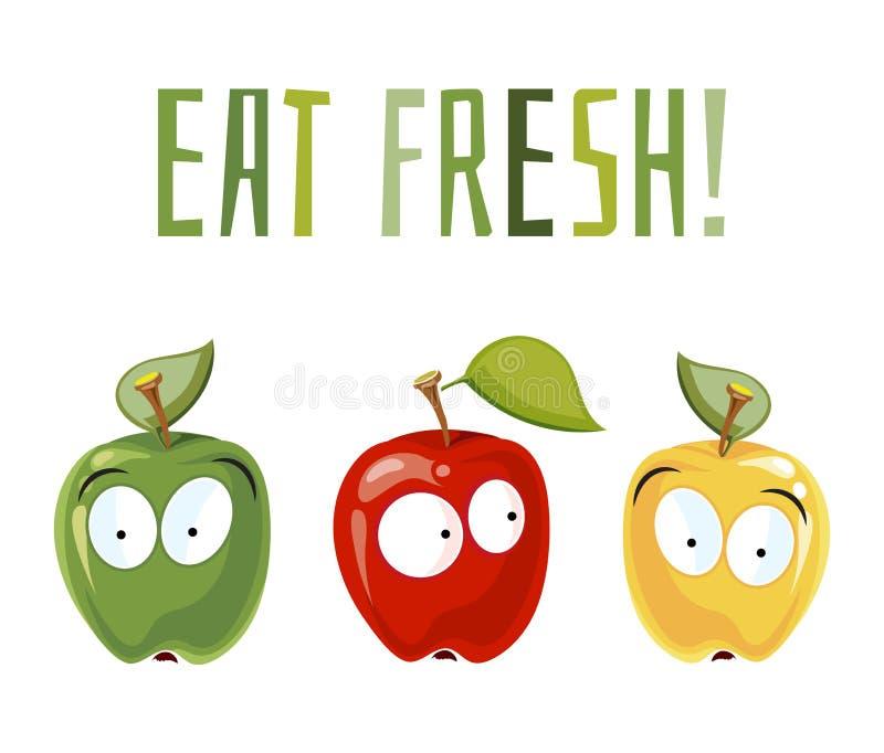 Mangi fresco Mele sorprese con gli occhi illustrazione vettoriale