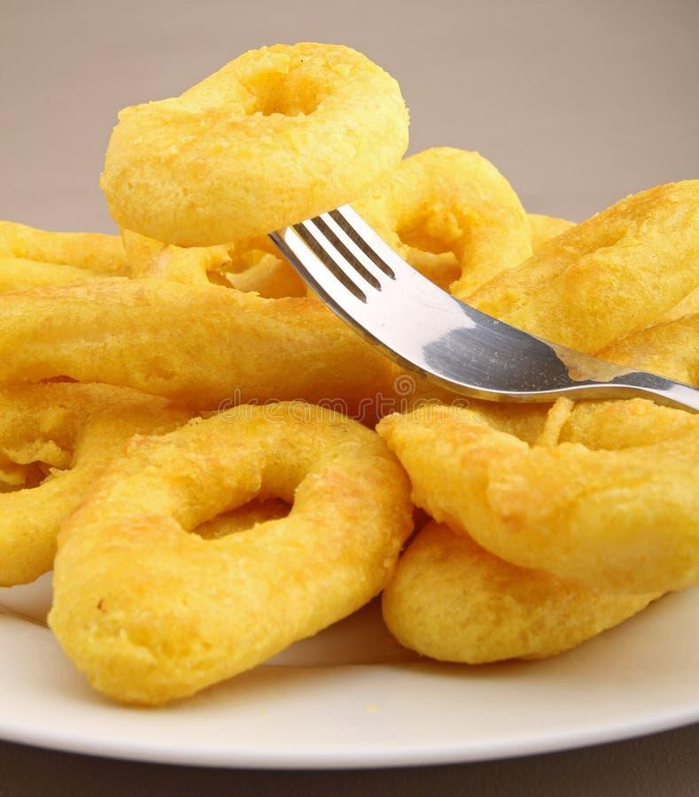 Mangi il calamari fritto immagine stock libera da diritti
