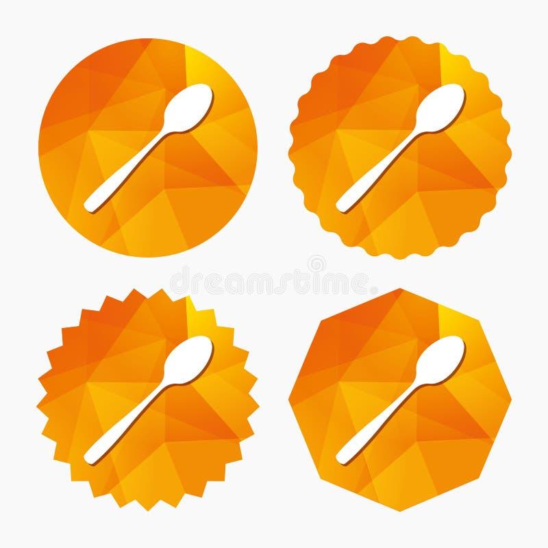 Mangi l'icona del segno Simbolo della coltelleria Cucchiaino diagonale illustrazione di stock
