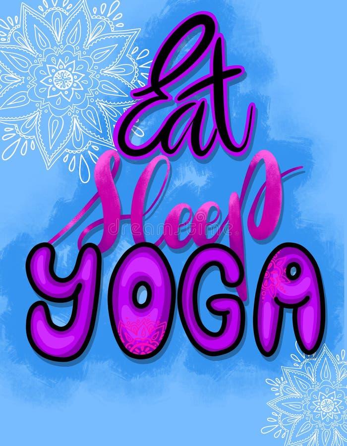 Mangi l'yoga di sonno Citazione motivazionale su struttura blu con le mandale indiane disegnate a mano Illustrazione di progettaz illustrazione vettoriale