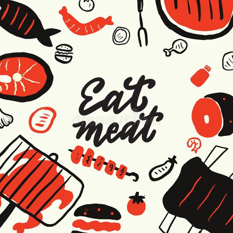 Mangi la carne Il contesto disegnato a mano divertente con differenti elementi dell'alimento griglia, arrostisce col barbecue, co illustrazione vettoriale