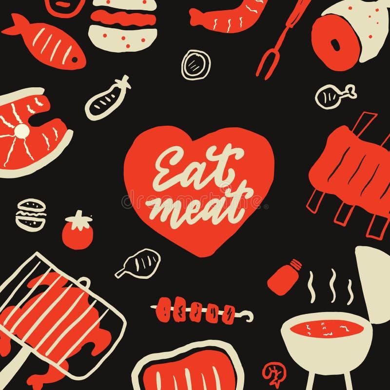 Mangi la carne Illustrazione disegnata a mano divertente di vettore dell'alimento differente della griglia illustrazione di stock