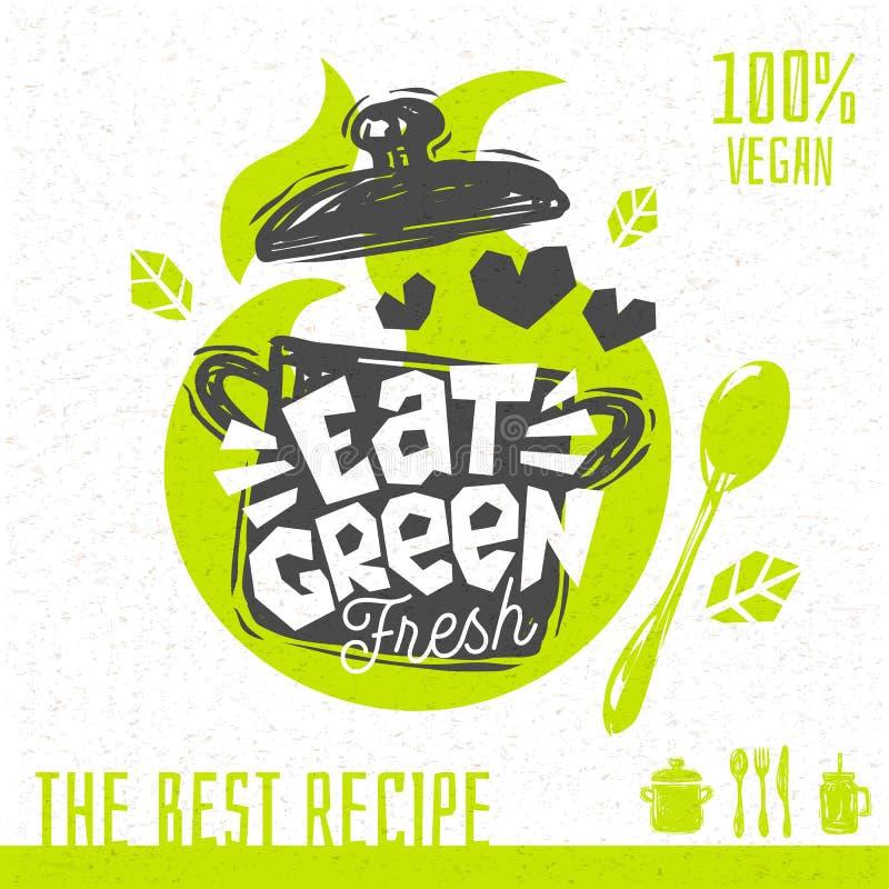 Mangi le ricette organiche fresche della minestra di amore di logo verde del cuore illustrazione di stock