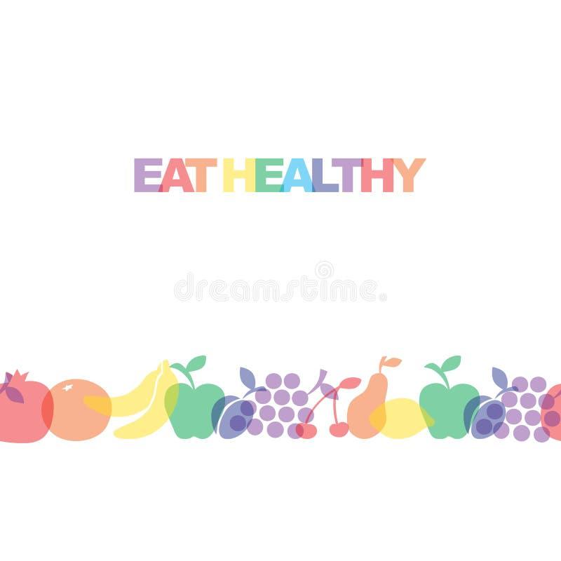 Mangi sano - il manifesto o l'insegna motivazionale con la frase variopinta mangia sano con le icone ed i segni dei frutti illustrazione di stock