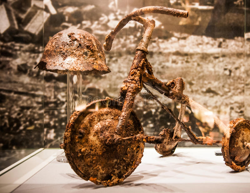 Mangled child& x27;s tricycle, Hiroshima Peace Memorial Museum. Mangled child& x27;s tricycle after nuclear blast exhibits at the Hiroshima Peace Memorial stock photo