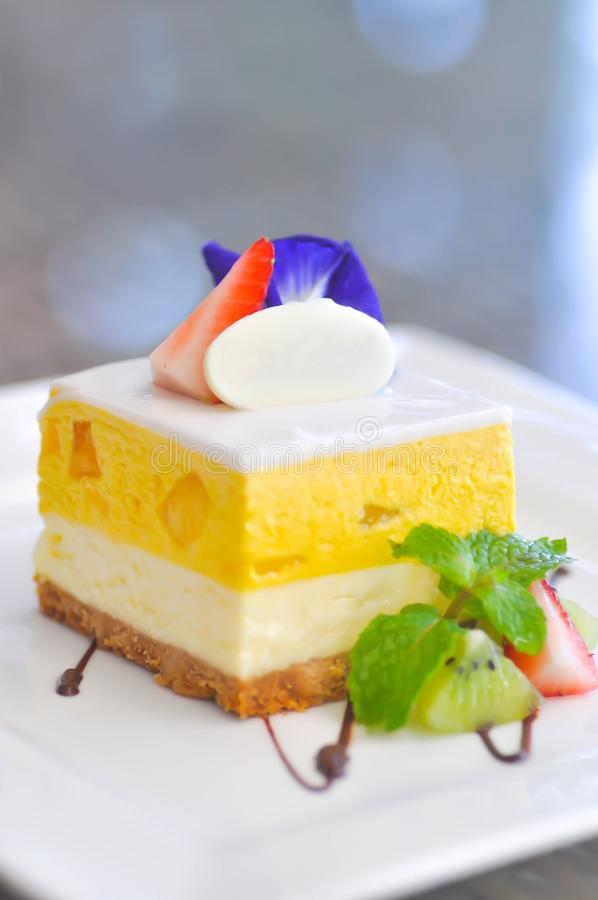 Mango cheese cake or mango cheese pie stock photography