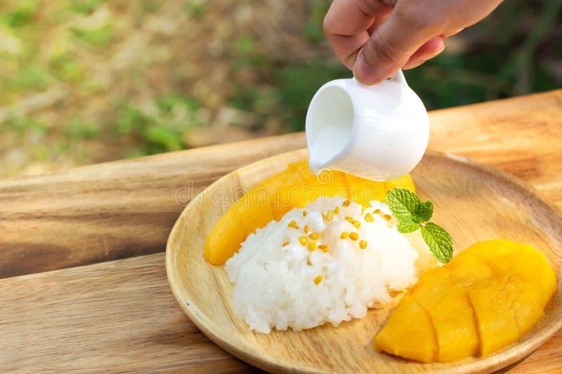 Mango con riso appiccicoso Dessert tailandese favorito nella stagione estiva Dolce e gusto di freschezza fotografia stock