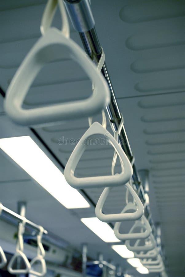 Mango del sostenedor del apretón en tranvía del tren del omnibus imágenes de archivo libres de regalías