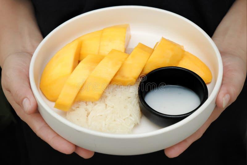 Mango dorato maturo con verde e bianco di riso appiccicoso fotografie stock libere da diritti