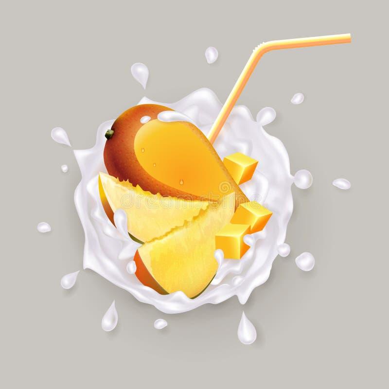Mango in een melkplons royalty-vrije illustratie