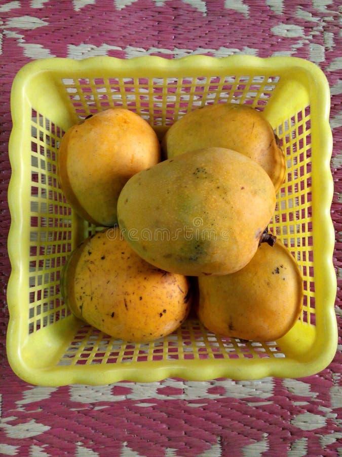 Mango in einem Korb stockfoto