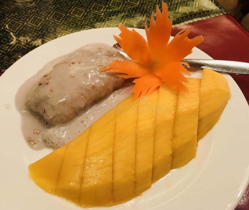 Mango en Kleverige Rijst royalty-vrije stock foto's