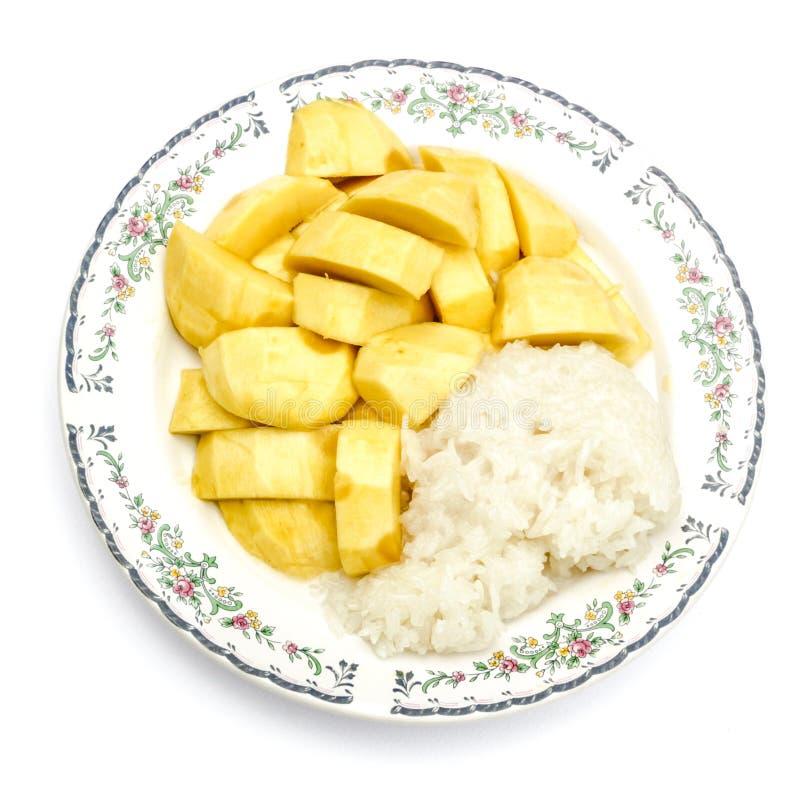 Mango en kleverige schotel 3 van het rijstdessert stock foto's