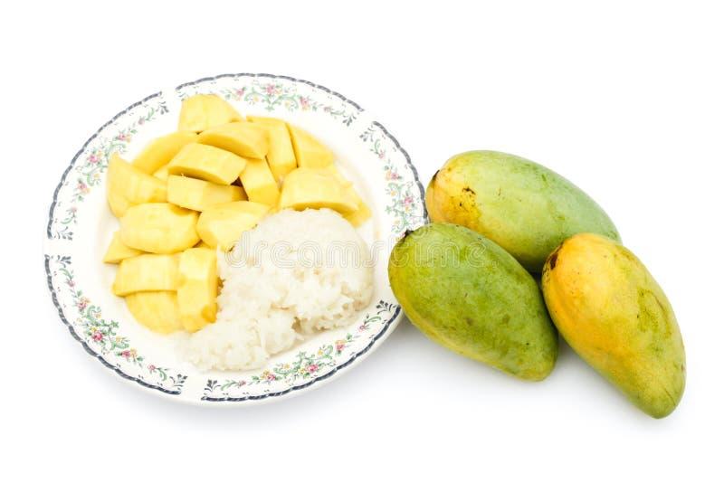 Mango en kleverige schotel 1 van het rijstdessert stock fotografie