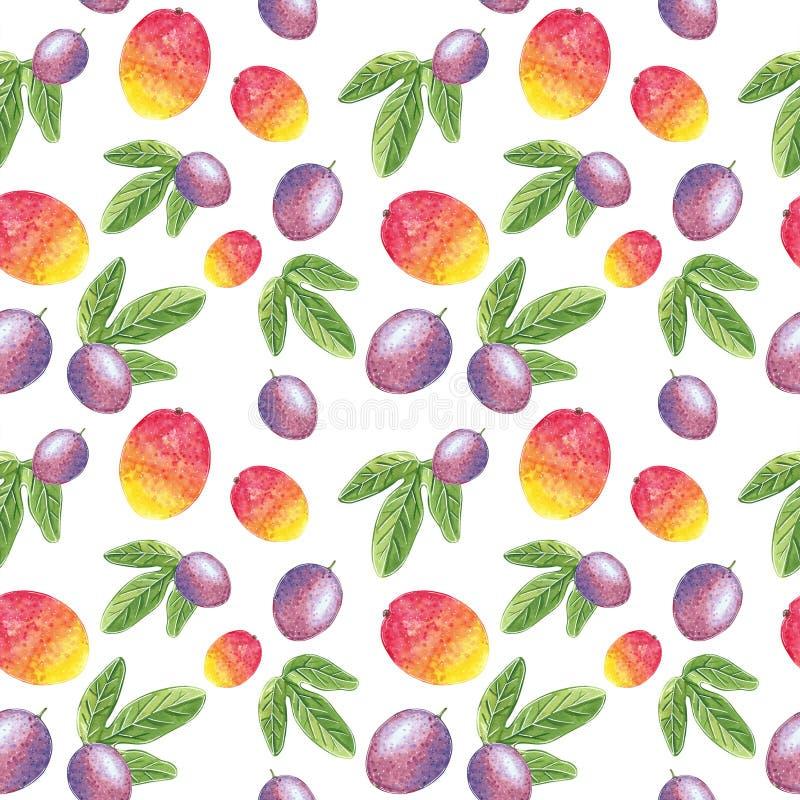 Mango en passievrucht met bladeren naadloos patroon, waterverfillustratie stock illustratie