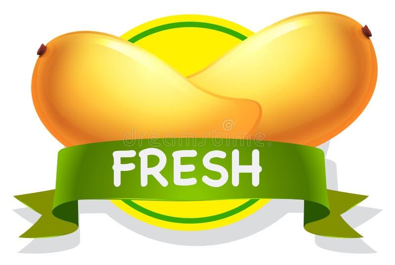 Mango. Fresh yellow mango with greenn banner royalty free illustration