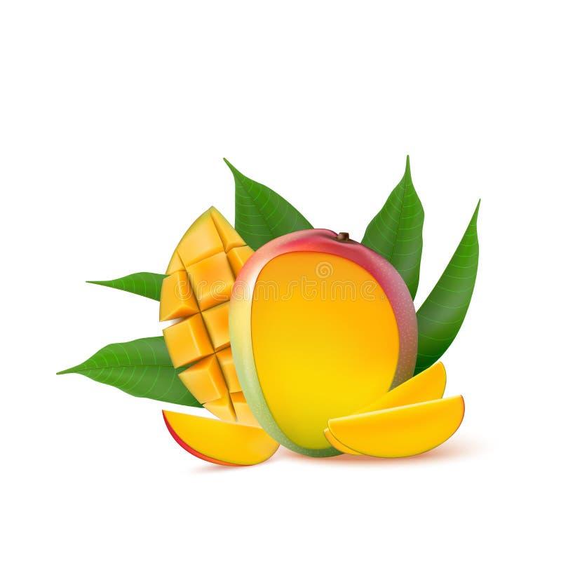 Mango fruit for fresh juice, jam, yogurt, pulp. 3d realistic yellow, red, orange ripe mango cubes and leaves isolated on white ba. Ckground for packaging, web stock illustration