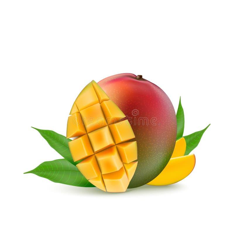 Mango fruit for fresh juice, jam, yogurt, pulp. 3d realistic yellow, red, orange ripe mango cubes and leaves isolated on white. Background for packaging, web royalty free illustration