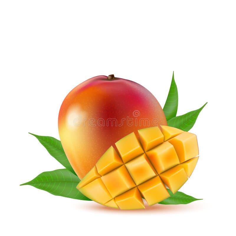 Mango fruit for fresh juice, jam, yogurt, pulp. 3d realistic yellow, red, orange ripe mango cubes and leaves isolated on white ba. Ckground for packaging, web royalty free illustration