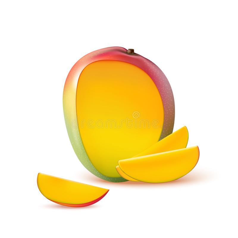 Mango fruit for fresh juice, jam, yogurt, pulp. 3d realistic yellow, red, orange ripe mango cubes isolated on white background. For packaging, web design. Cut stock illustration