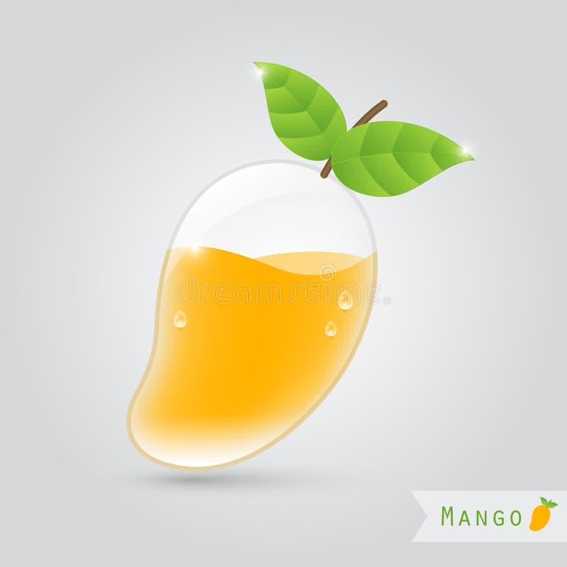Mango fruit juice. Mango juice in a mango shaped glass with leafs royalty free illustration