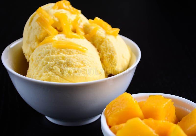 Mango Ice Cream. With Fresh Mangoes royalty free stock photos