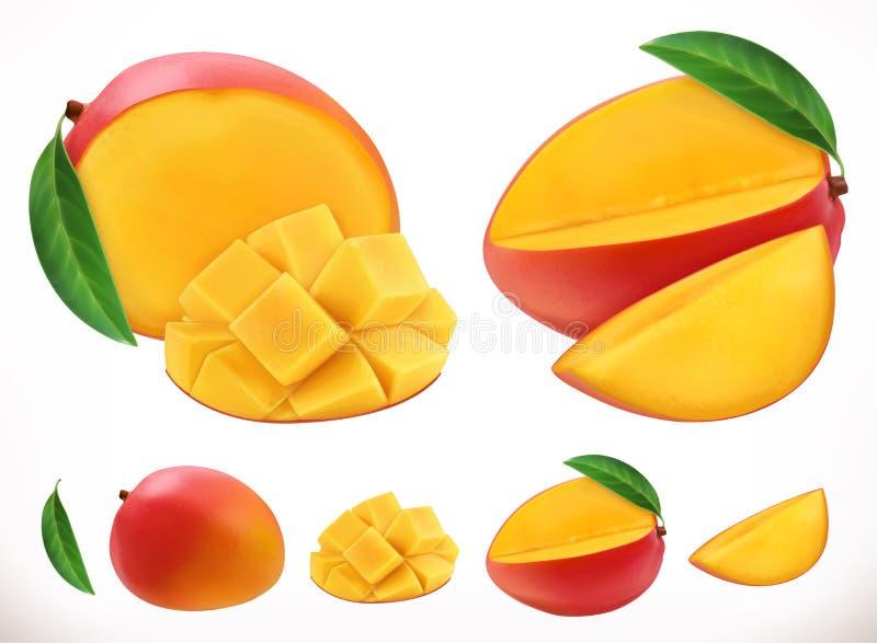 mango Icona di vettore della frutta fresca 3d illustrazione vettoriale