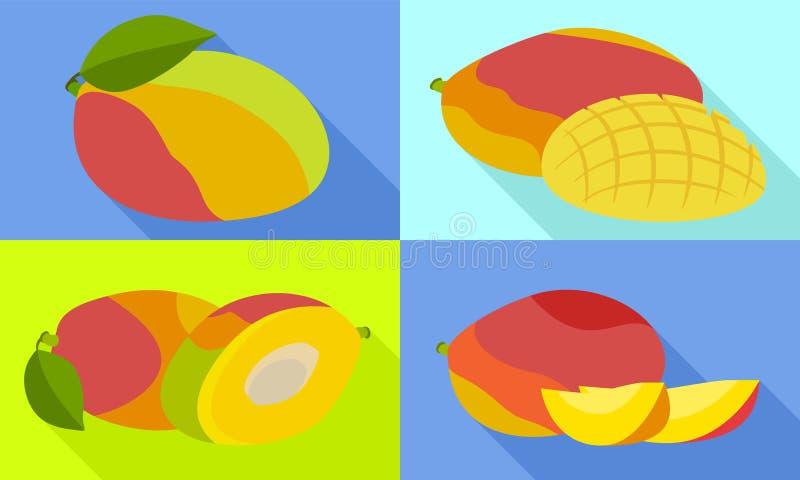 Mango icons set, flat style vector illustration