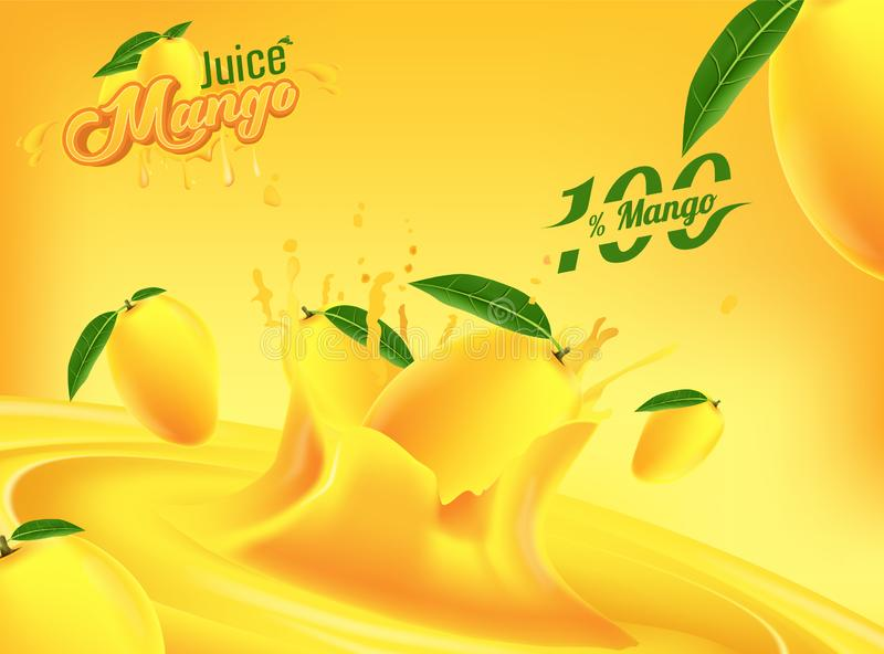 Mango-Juice Advertising Banner Ads Vector-Schablonen-Design vektor abbildung