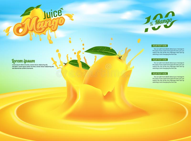 Mango-Juice Advertising Banner Ads Vector-Schablonen-Design lizenzfreie abbildung
