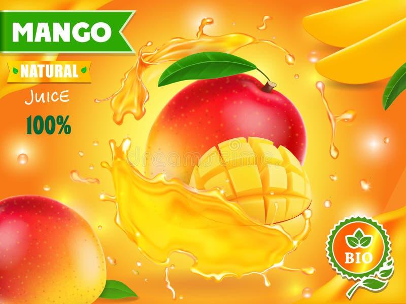 Mango juice advertising. Tropical fruit drink package design royalty free illustration