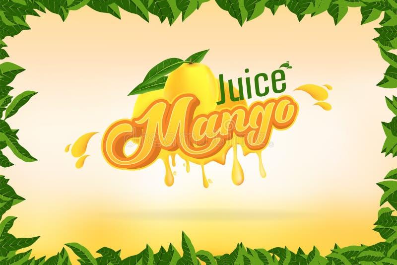 Mango Juice Brand Company Logo Design met vectorillustratie als achtergrond royalty-vrije illustratie