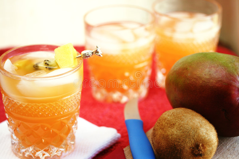 Mango Juice Cocktails royalty free stock photos