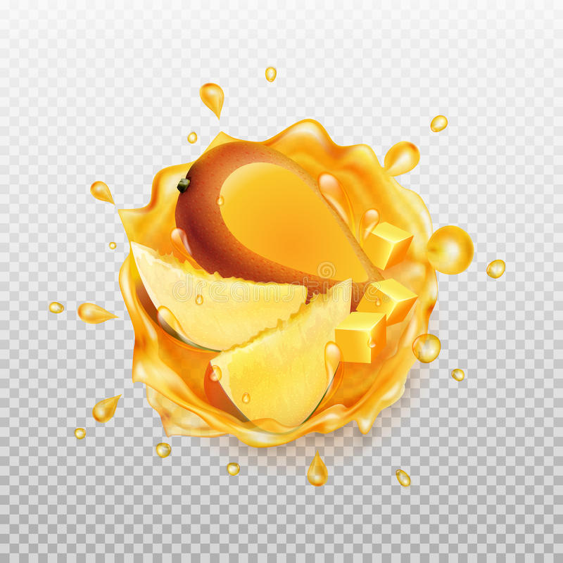 Mango juice with fruit. Realistic splash of juice with mango and slices mango. Fresh fruit. Transparent orange water splash. Vector illustration vector illustration