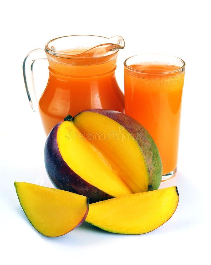 Mango juice with mango slice isolated on white background. jug o stock photos
