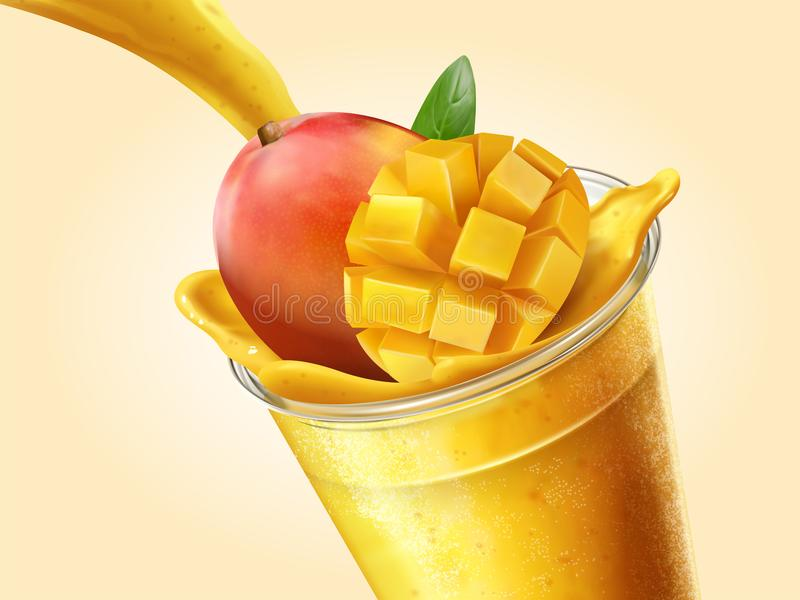 Mango juice or smoothie. Pouring into transparent takeaway cup in 3d illustration vector illustration