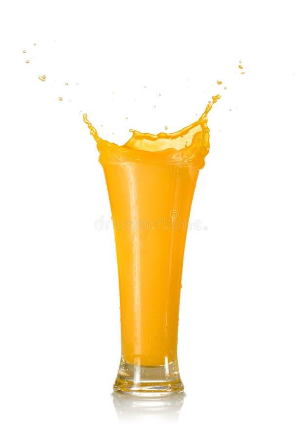 Mango Juice Splash in een Glas royalty-vrije stock foto's