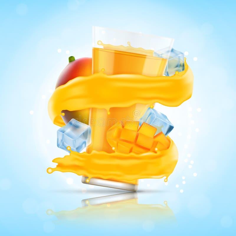 Mango juice splash. With glass and ice cubes. Vector icon. EPS10 royalty free illustration
